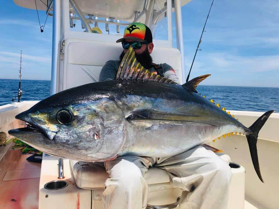 Angler holding a giant bigeye tuna.
