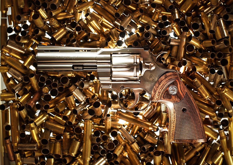 Colt Python on brass shells.