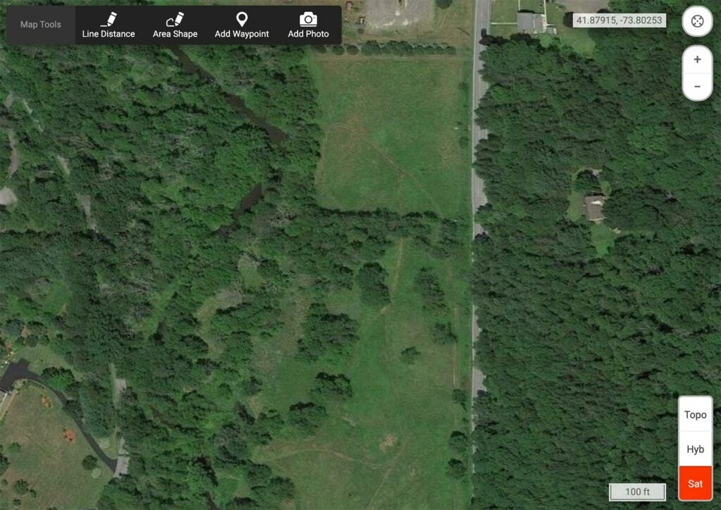 Satellite images of a food plot area.
