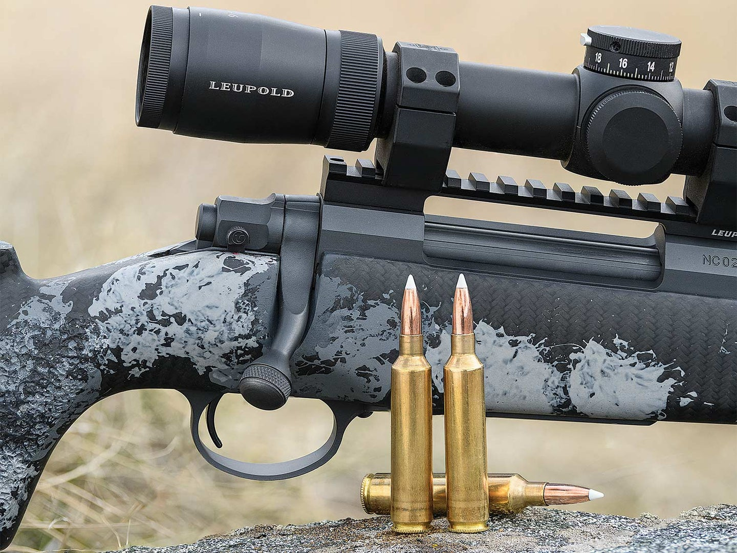 A hunting rifle with a flat-shooting 27 Nosler.