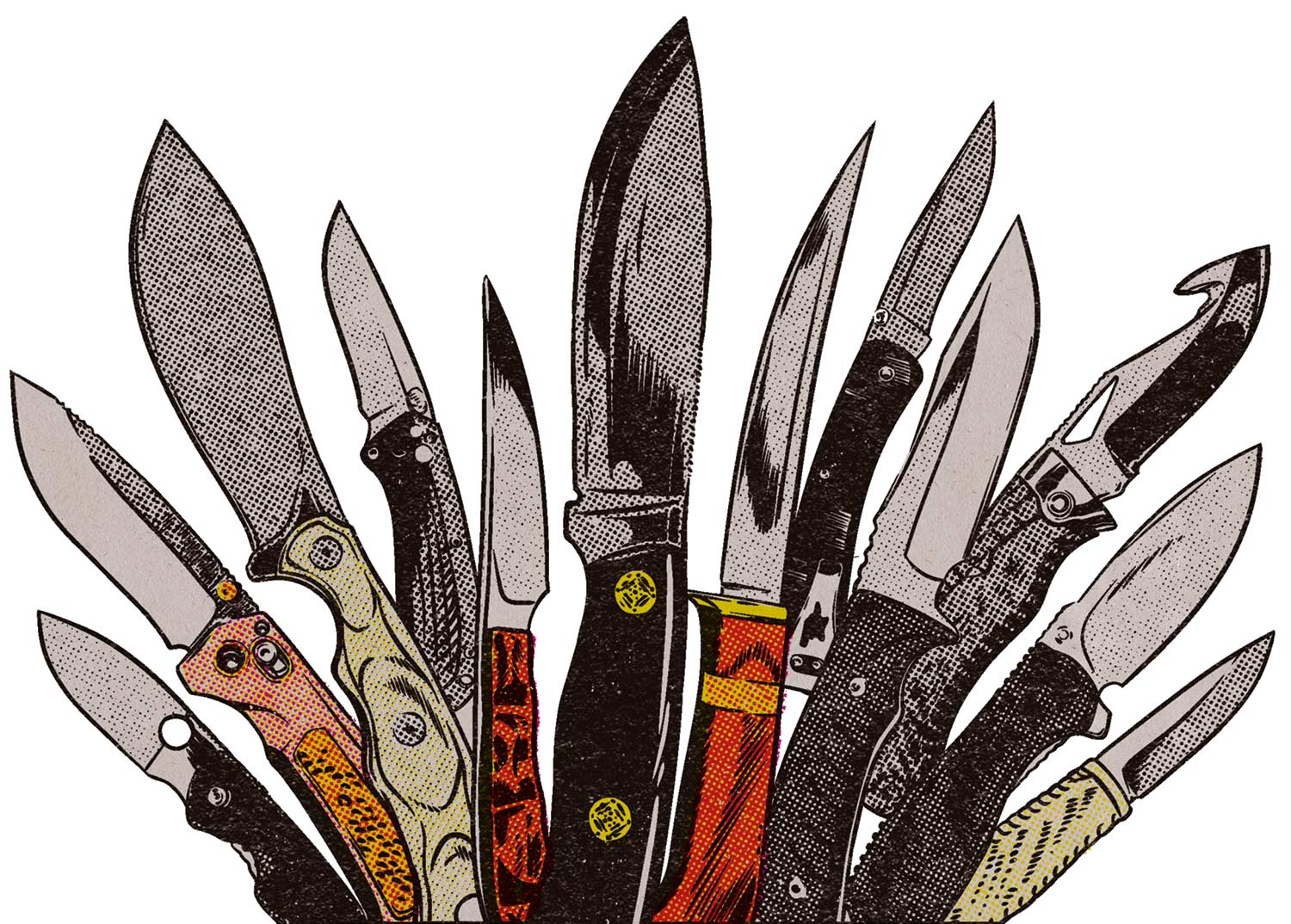 Illustration of a knife collection.