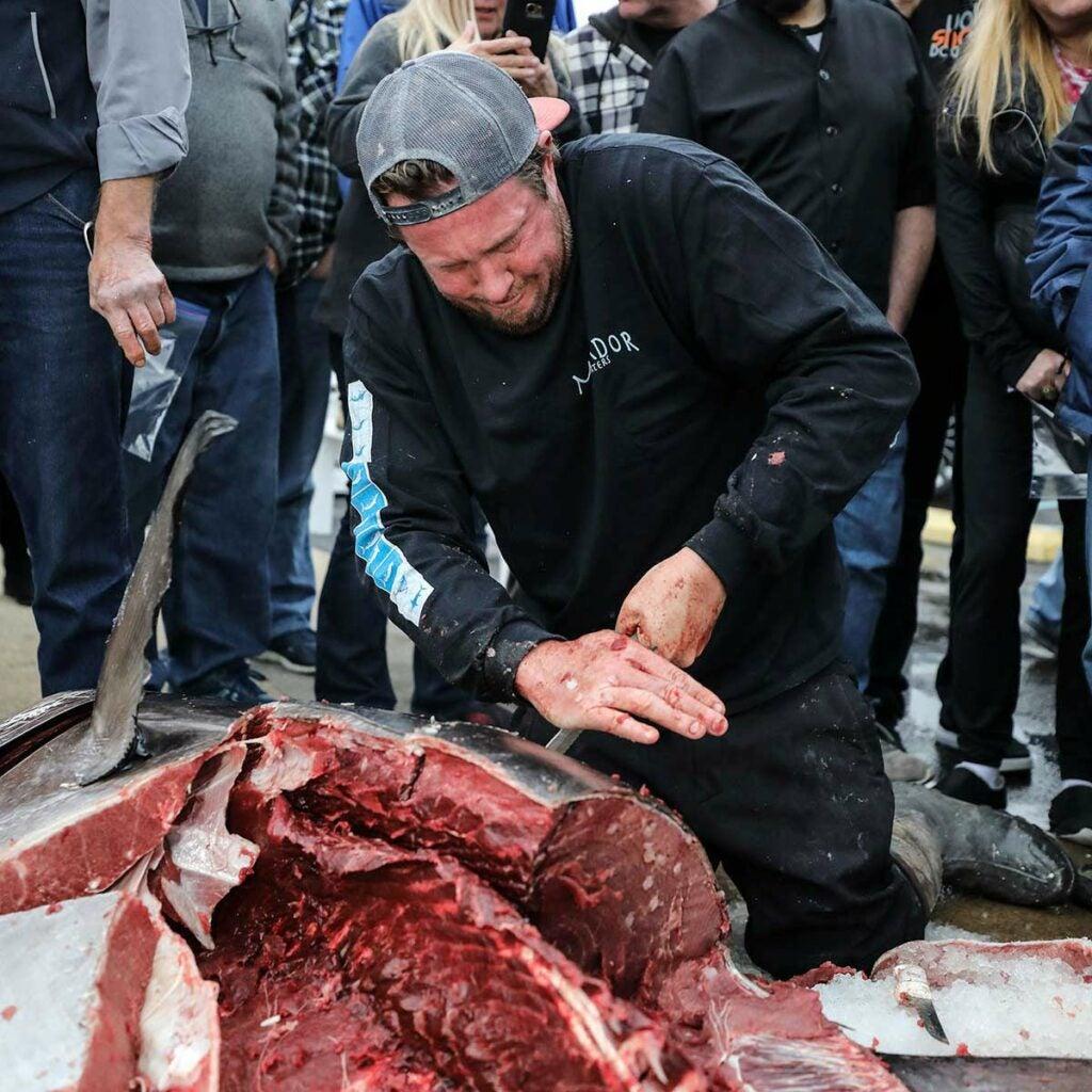 Man carving bluefin tuna.