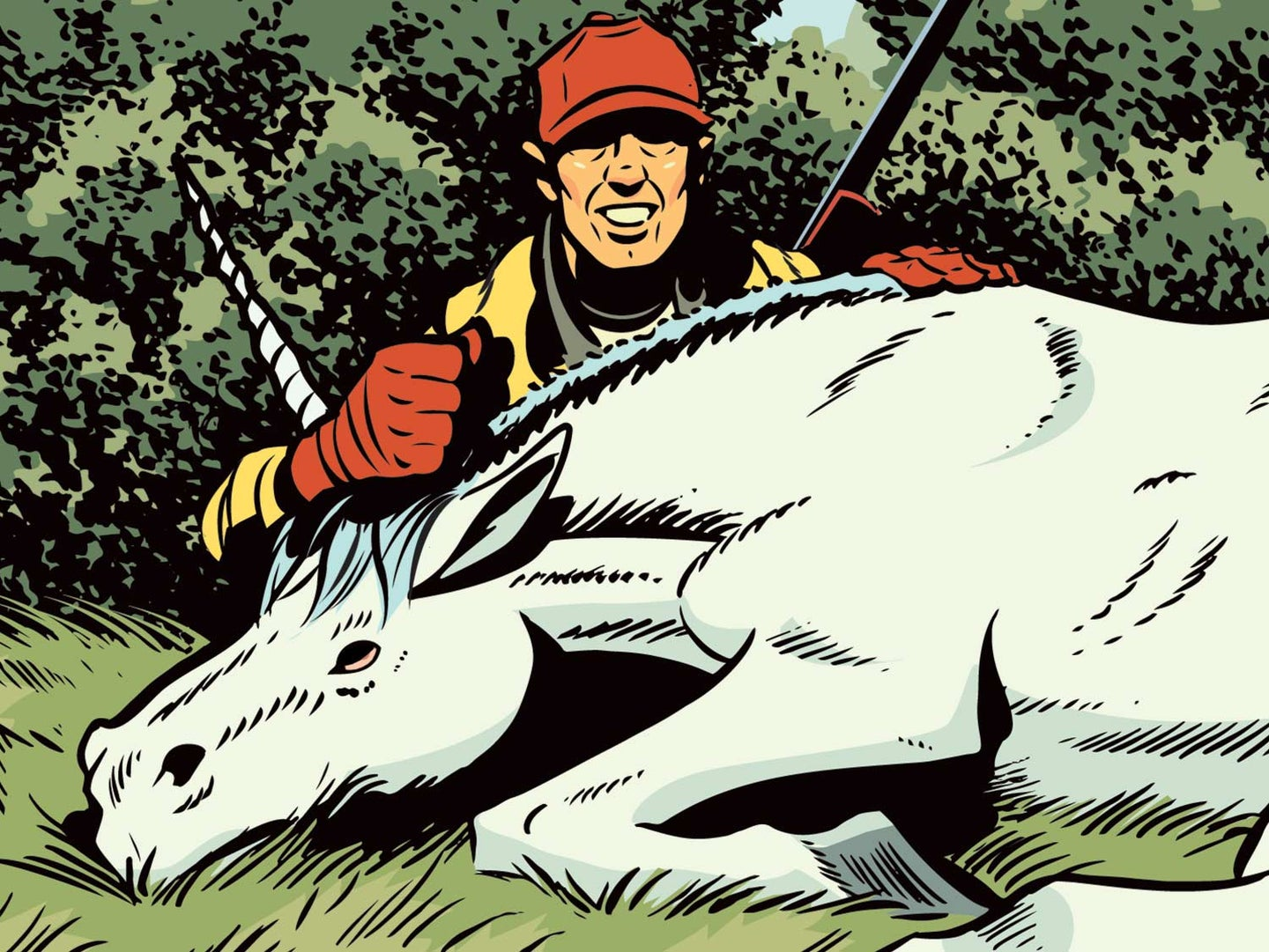 Illustration of a hunter and a unicorn.
