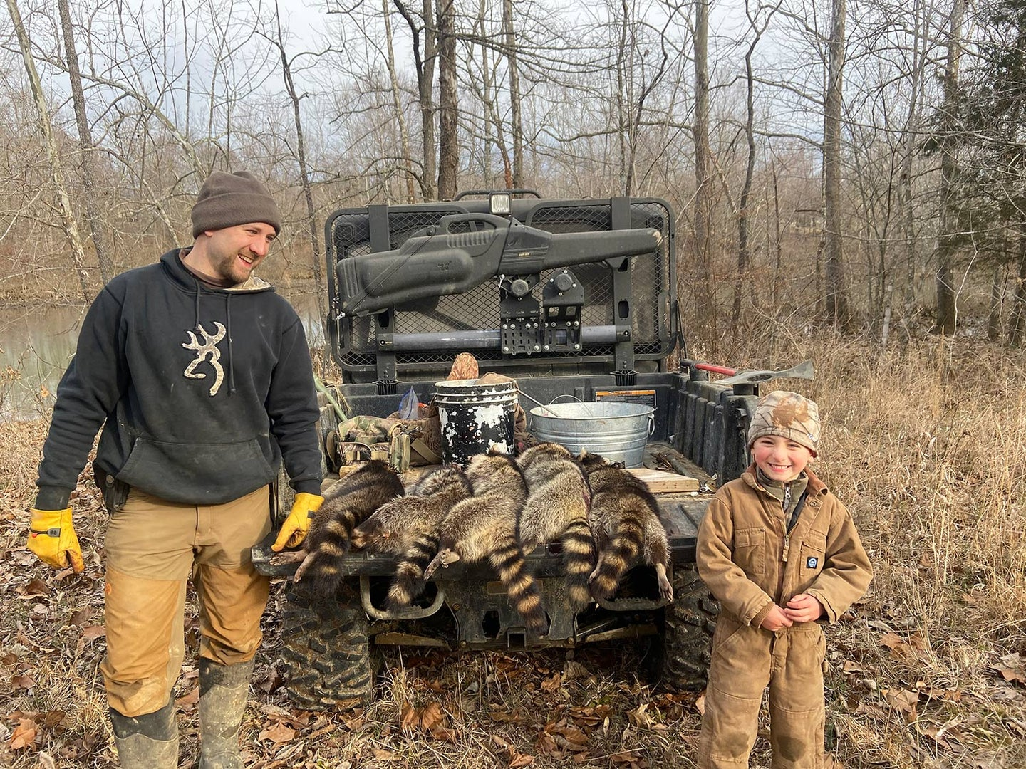 The author and his boy, Anse, had a productive day of checking traps.