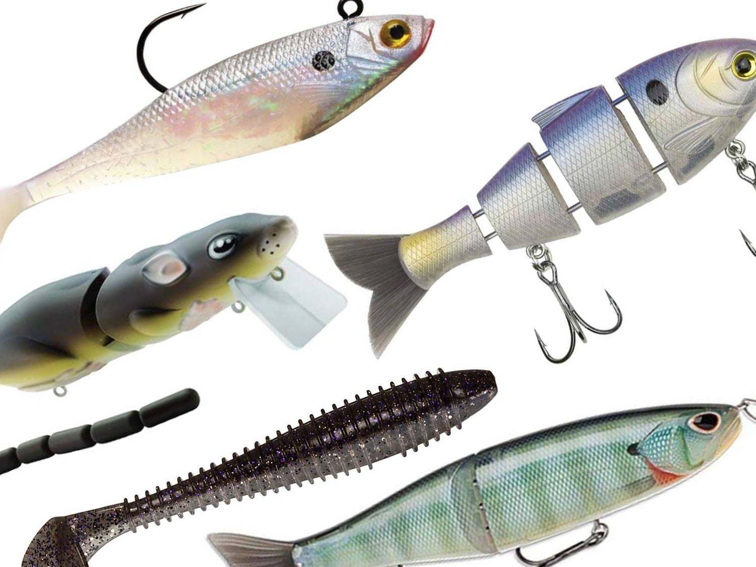 A collection of Swimbait fishing lures.