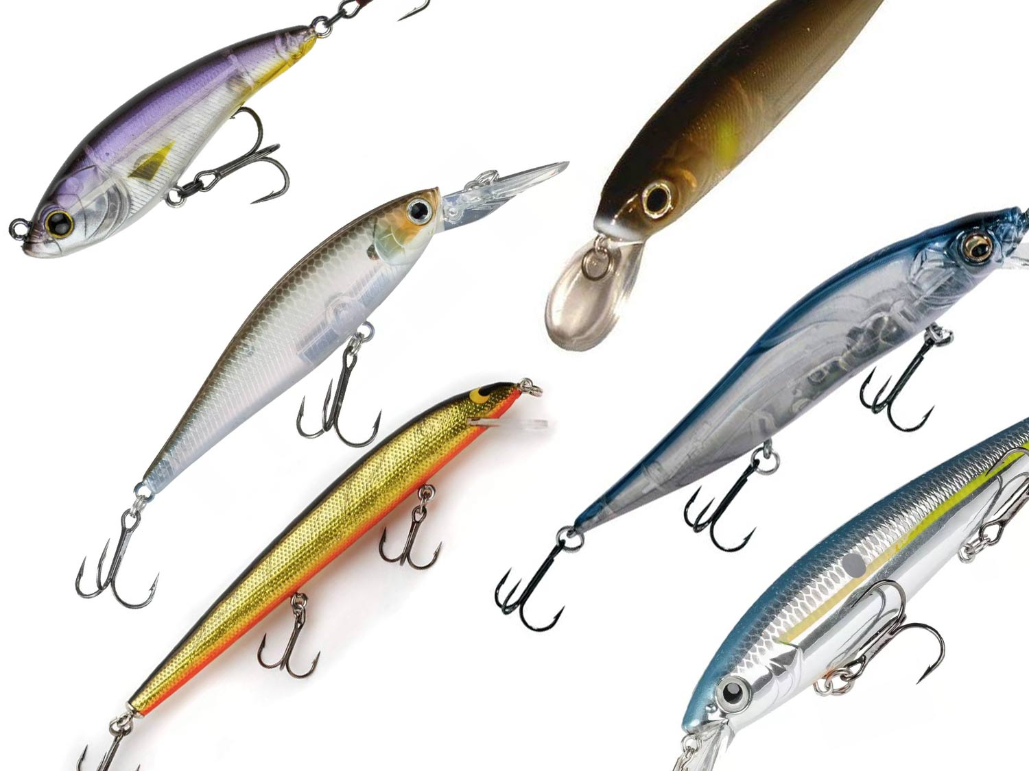 A collection of jerkbait fishing lures.