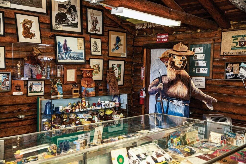 Interior of a Smokey the Bear musem.