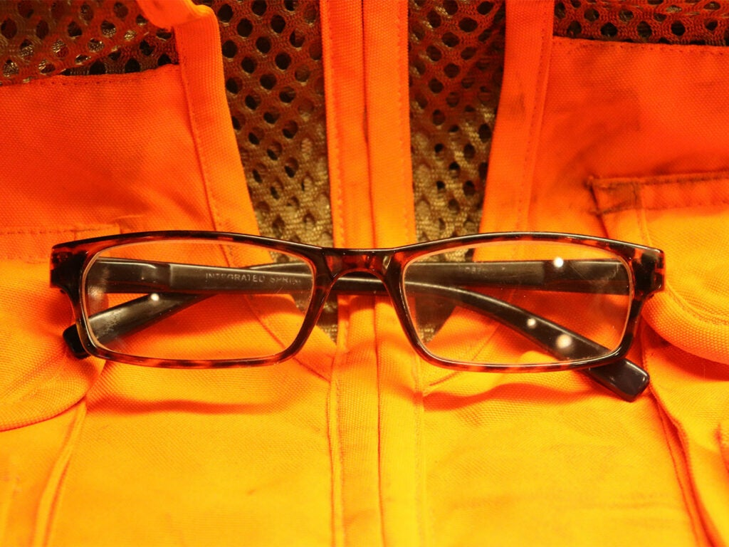 Eye glasses on hunting dogs.