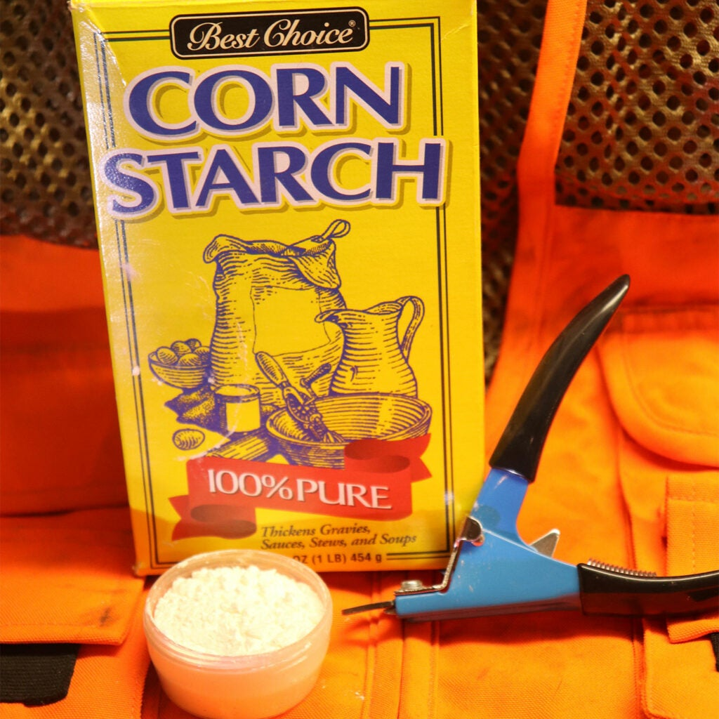 Corn Starch and toenail clippers.