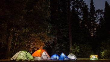 A group of tents in the woods at night.