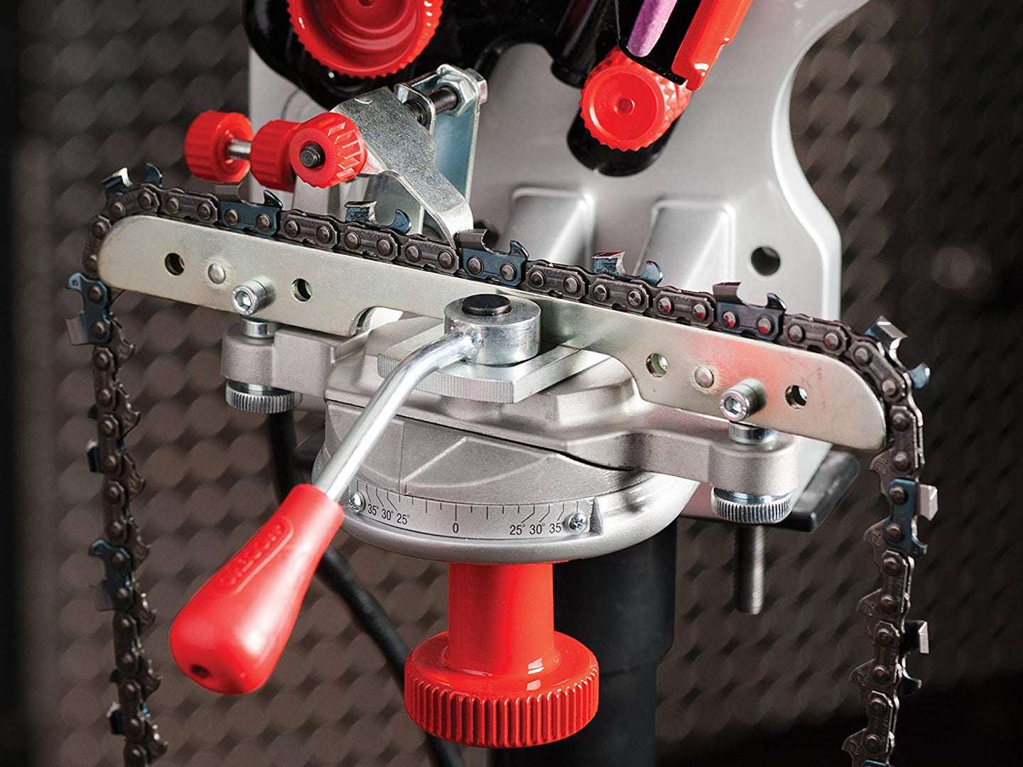 A chainsaw chain being sharpened.