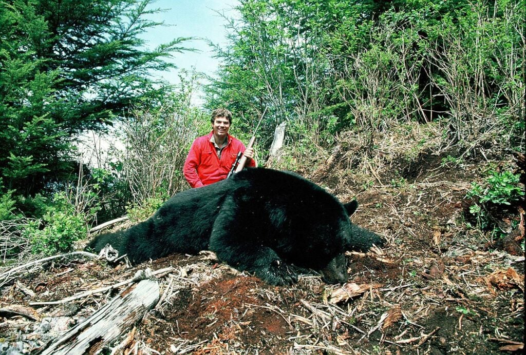 Author and his biggest bear—a 7 footer B&C bear from Vancouver Island, 500 lbs.