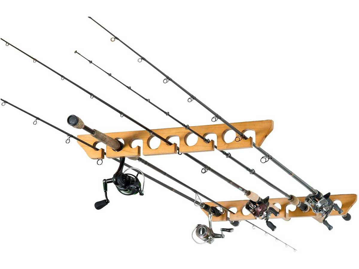 Organized Fishing Solid Pine Horizontal Ceiling Rack