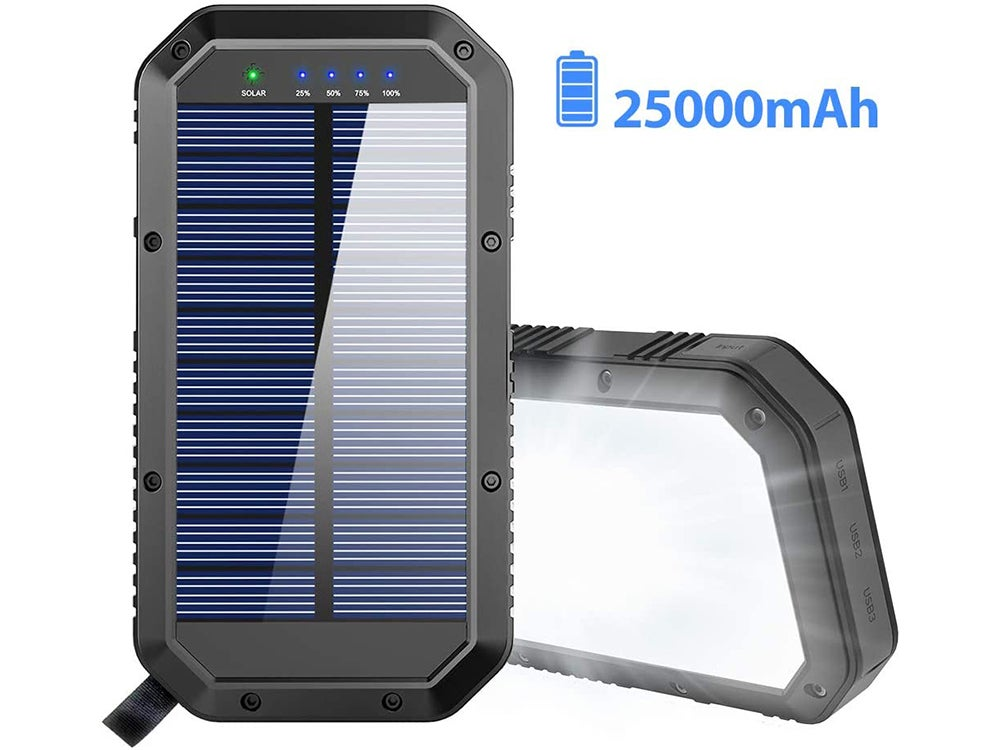 25000mAh Battery Solar Power Bank Portable Panel Charger with 36 LEDs and 3 USB Output Ports