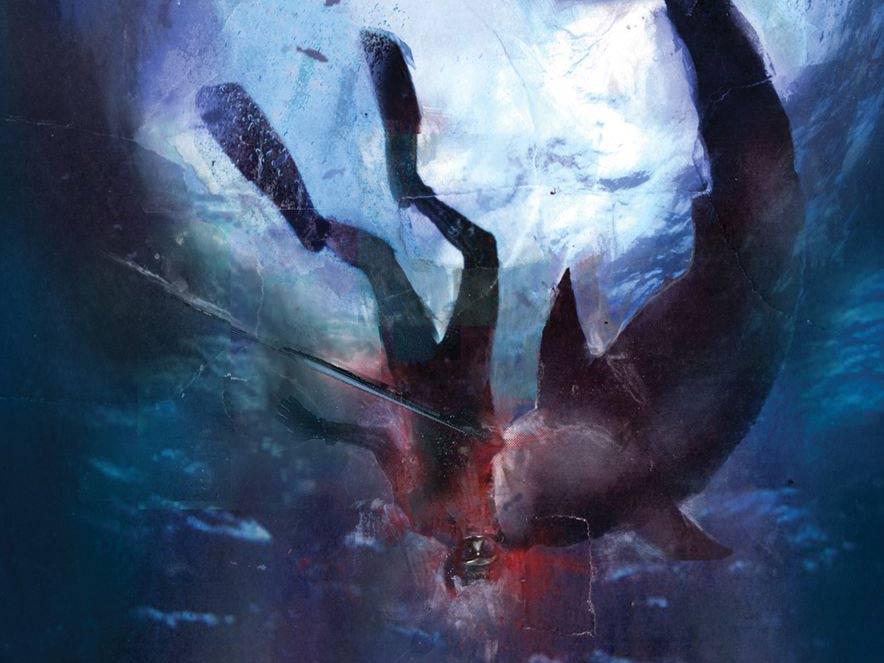 A bull shark attack illustration.
