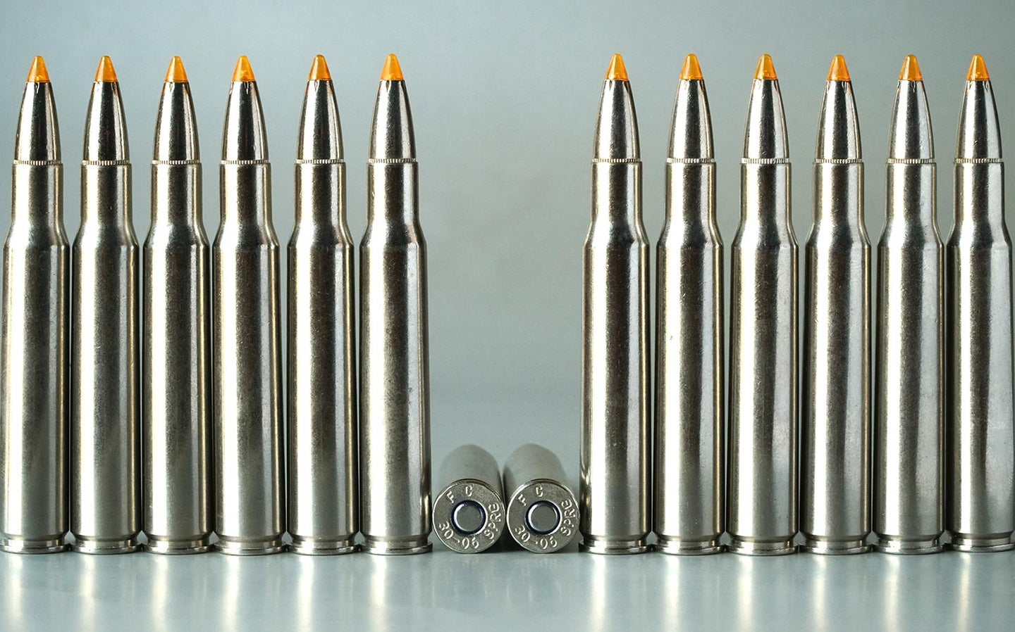 A lineup of Federal Premium Vital Shock .30/06 rounds loaded with 165-grain Trophy Bonded Tip bullets.