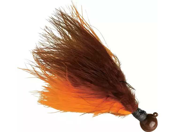 Kalin's Hand-Tied Marabou Jig in Brown/Orange.
