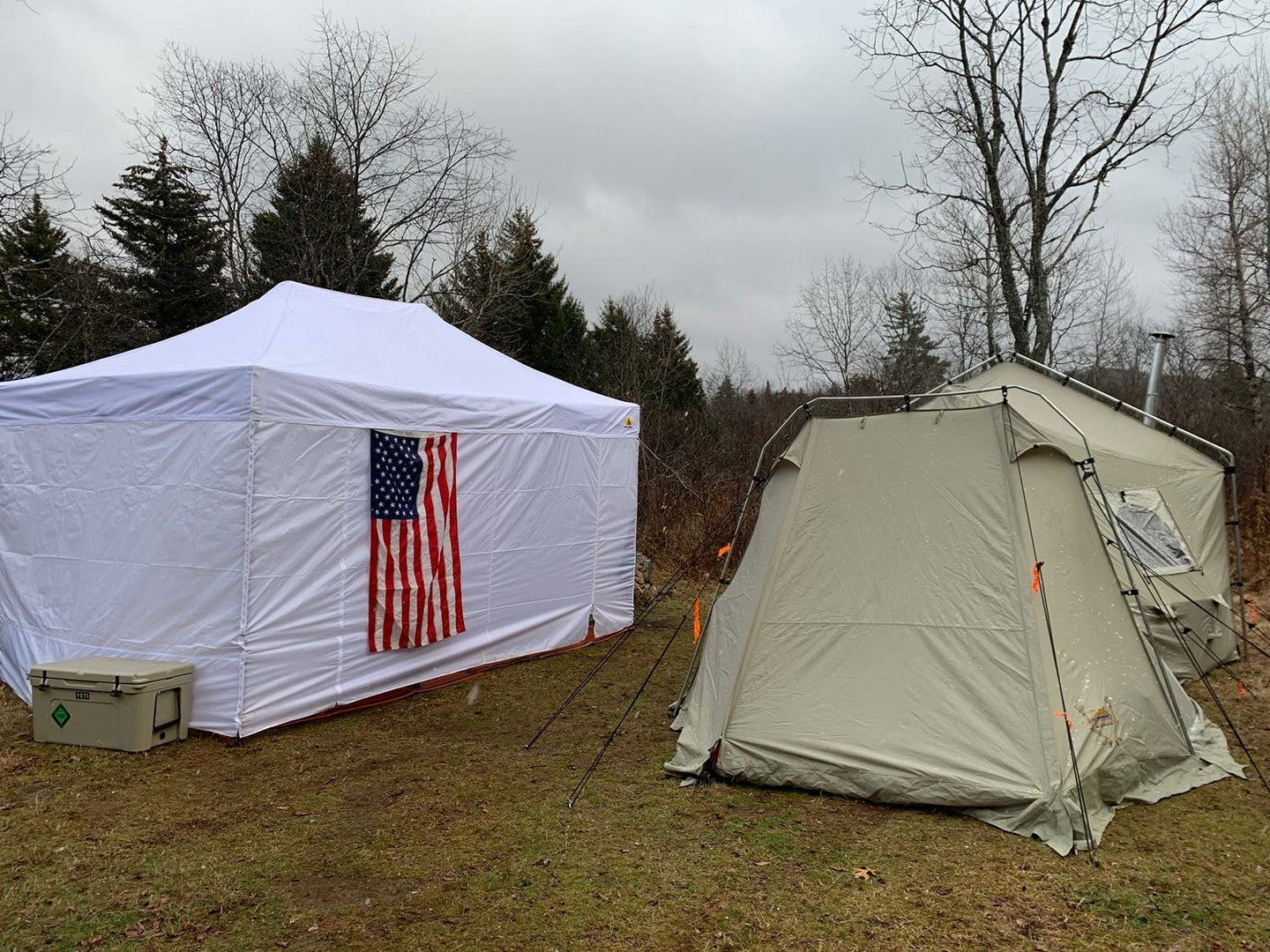 A deer camp with tents.