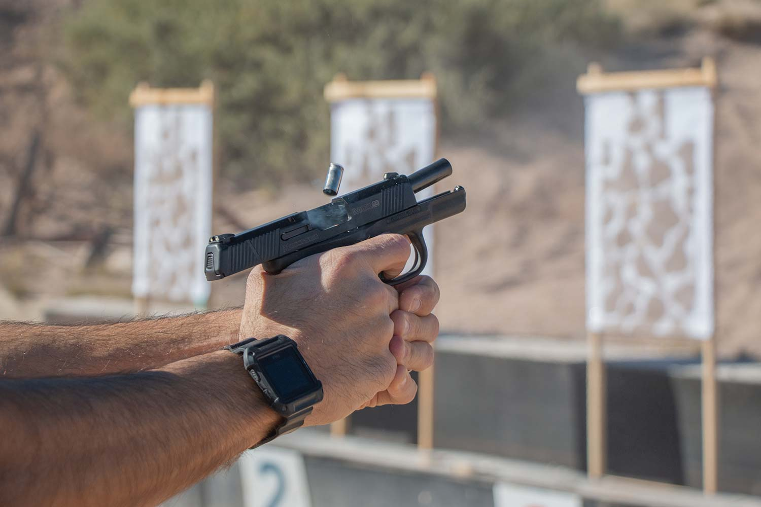 The Mossberg MC1 at the range.