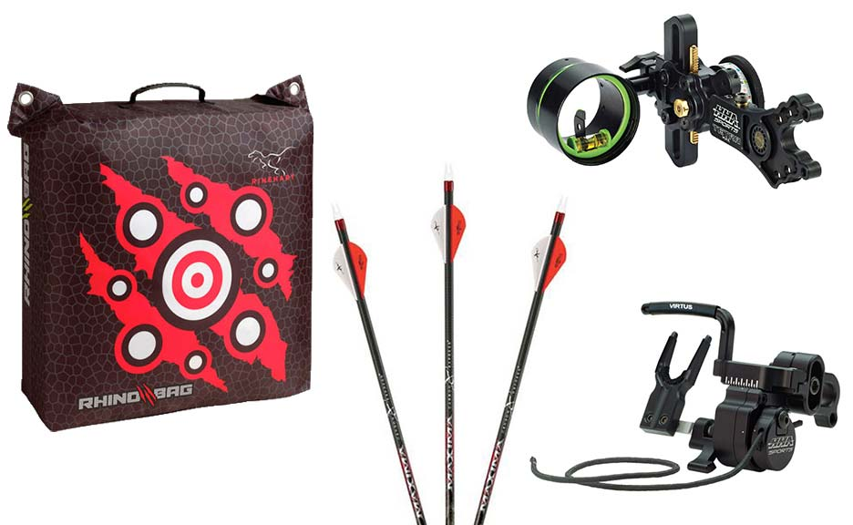 Collage of bowhunting gear and archery supplies.