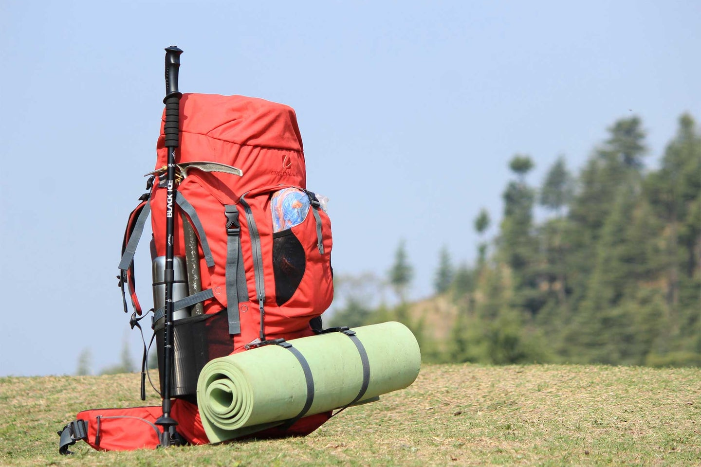 Backpacking equipment on a hill