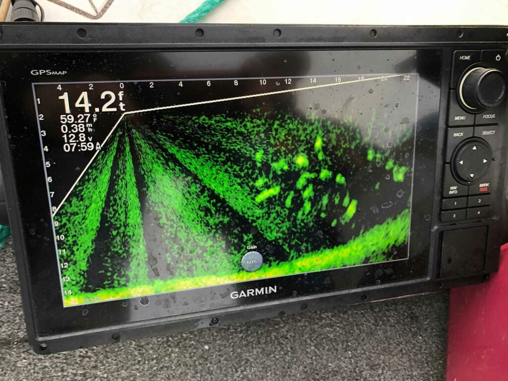 The Garmen LiveScope is one of two sonar unites Green relies on to get him on fish-holding structure.
