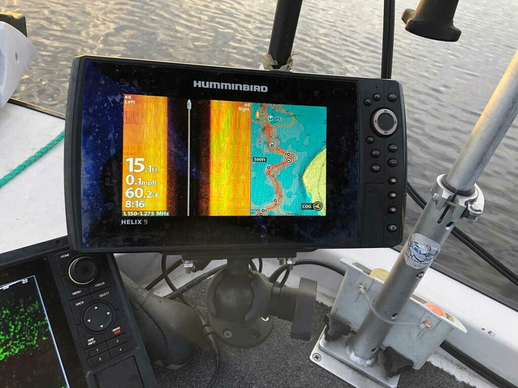 The Humminbird Chirp Mega helps with precise jig presenation.