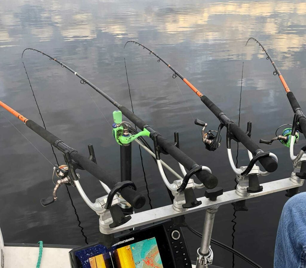 Green's assortment of specialized rods and reels.