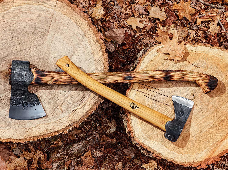 Left: Wilderness Ironworks Great Northwoods Axe ($250-$300) ; Right: Gränsfors Bruk Hunter's Axe ($180).