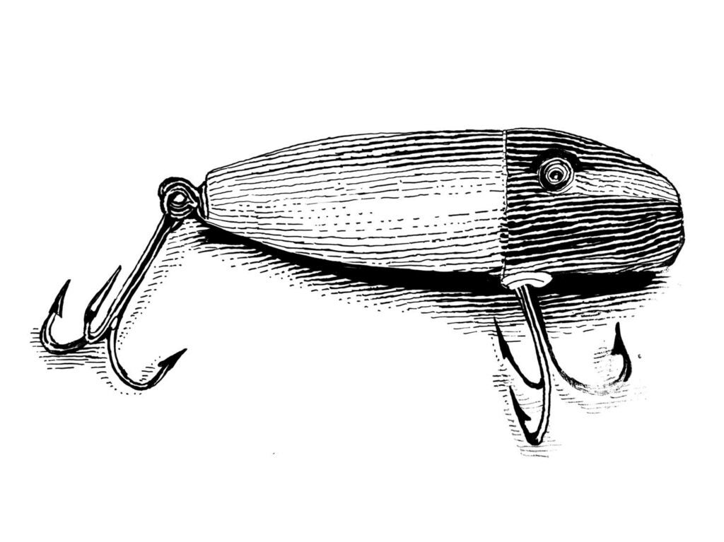 Illustration of a fishing lure.