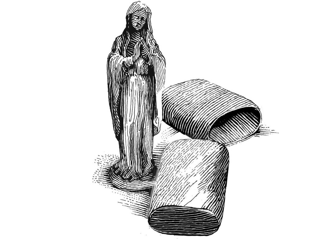 Illustration of a folding statue of a religious icon.