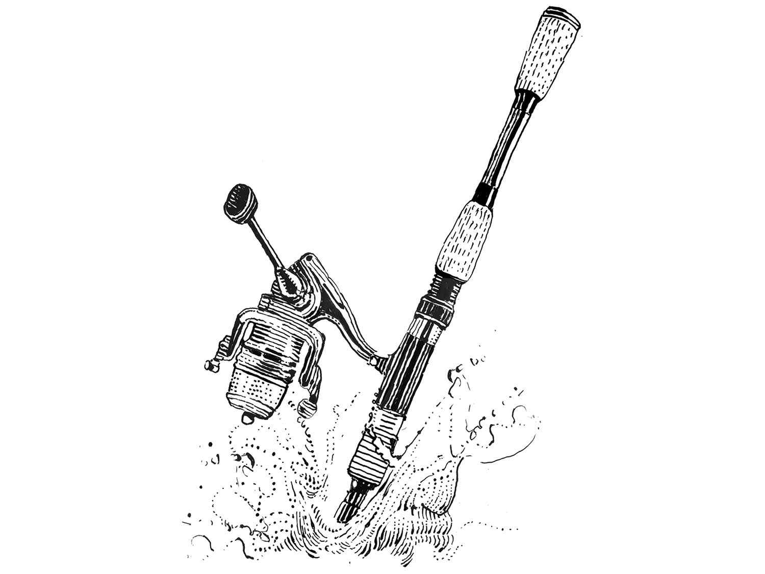 Illustration of a fishing rod and reel.