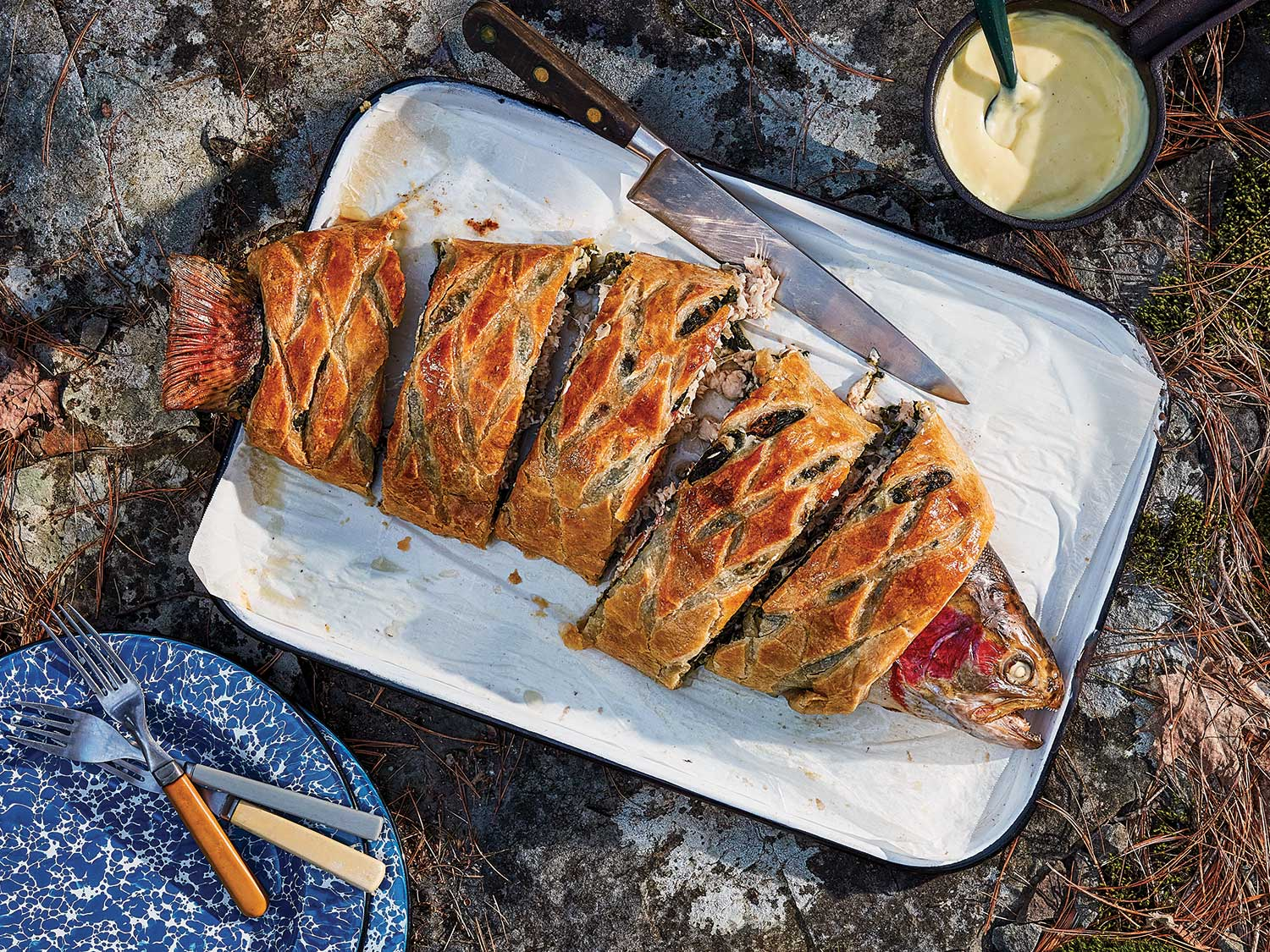 A steelhead trout wellington with trout wrapped in pastry dough.