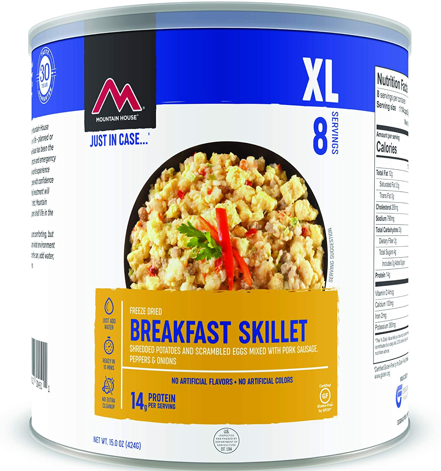 A can of mountain house breakfast skillet.