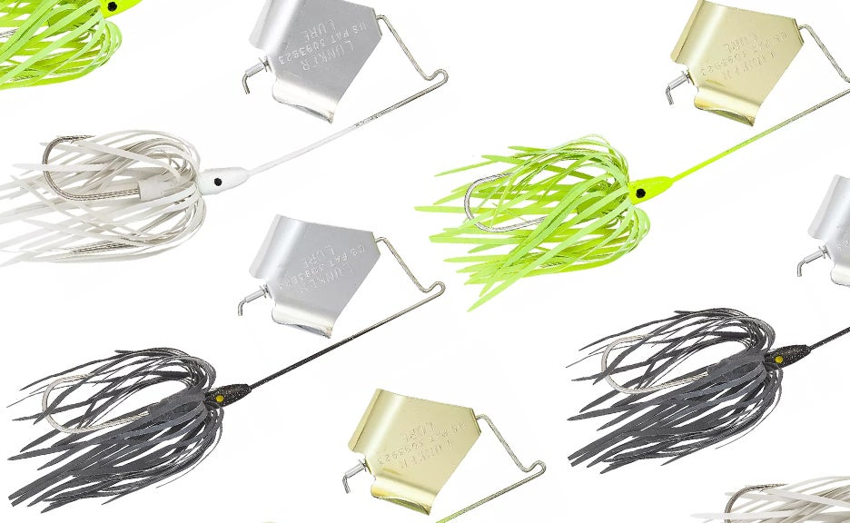 A collage of buzzbait lures.