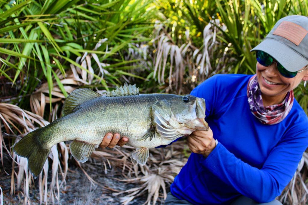 Captain Debbie Hanson with a southern Florida largemouth.