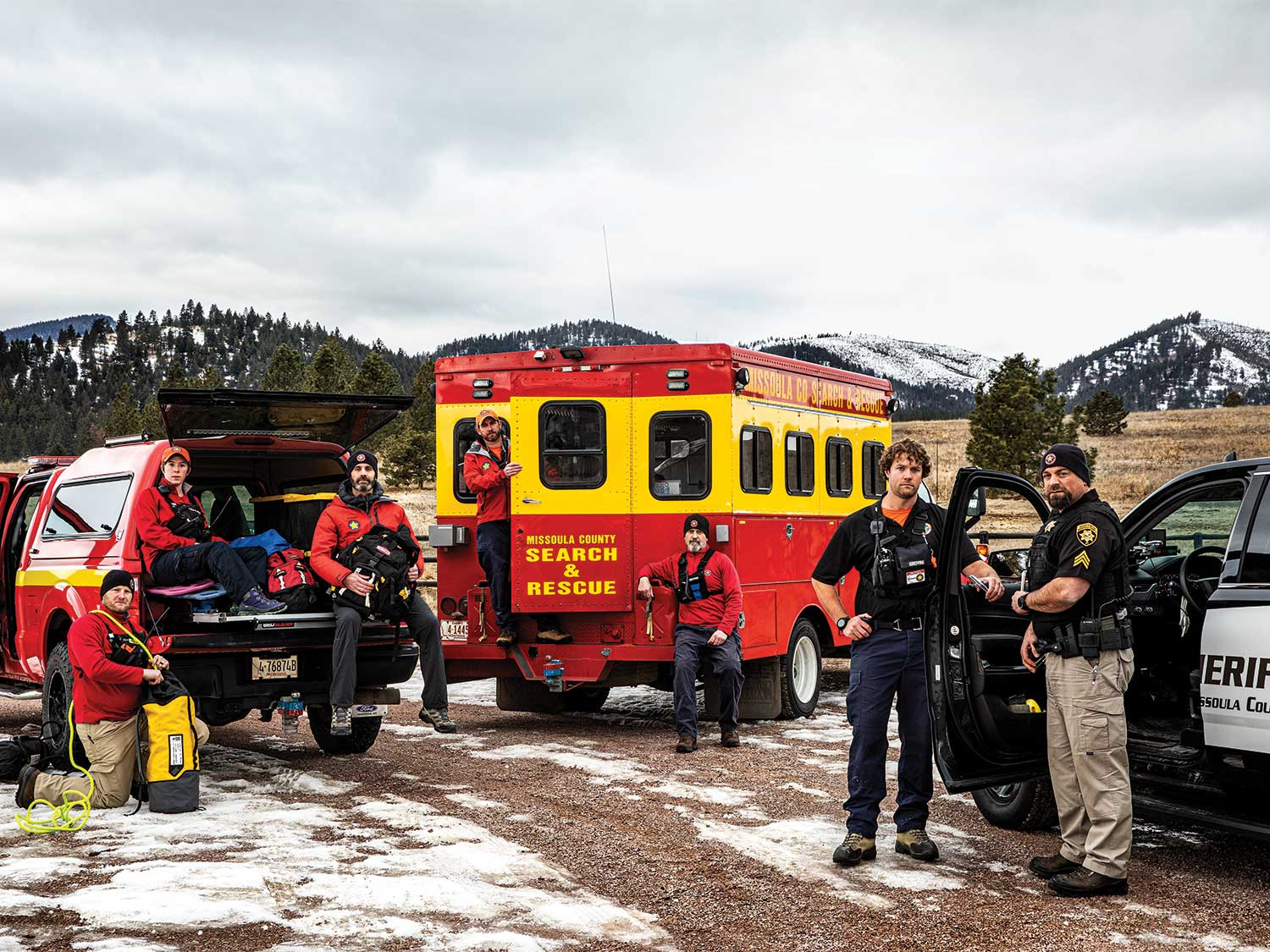 A search and rescue team preparing for training.