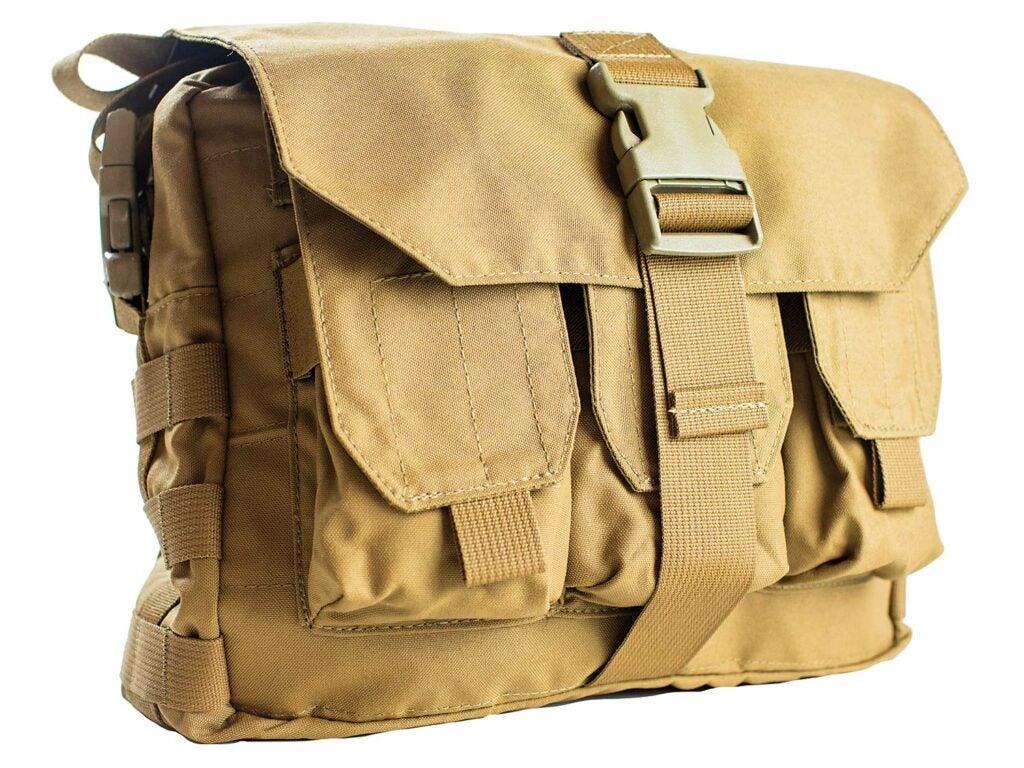 A tan hunting bag.