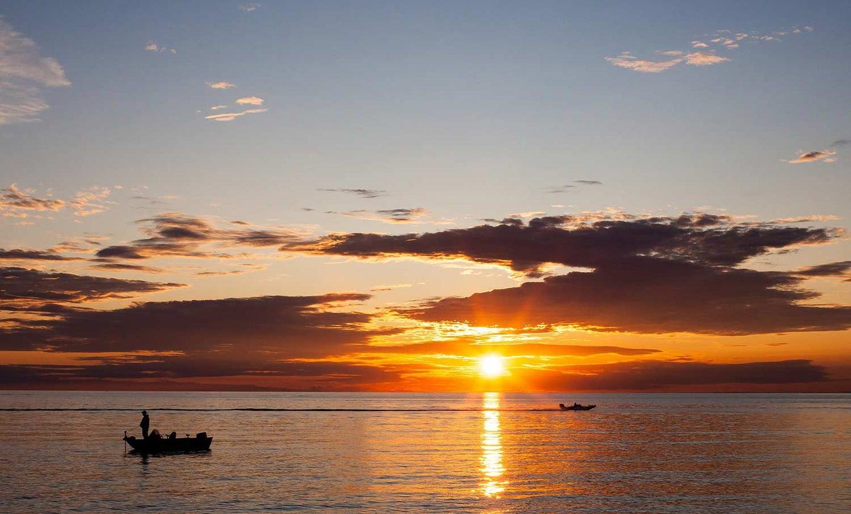 A sunset over Lake Michigan.