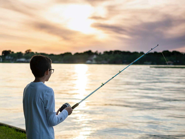 push-button reel fishing on a lake