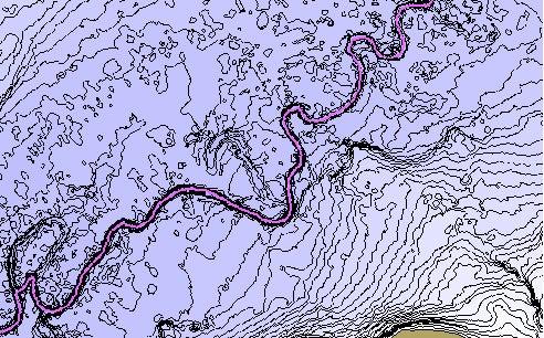 A river creek contour map taken with a Humminbird.