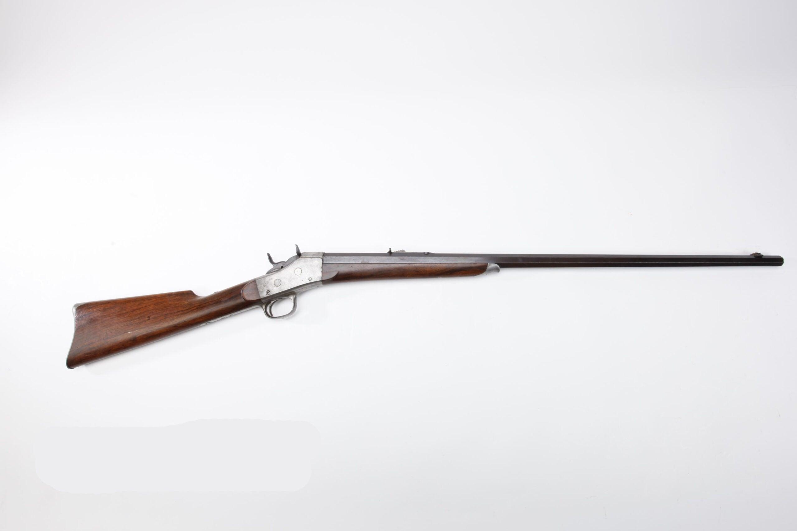 A Remington Arms Model 4 Rolling Block rifle.