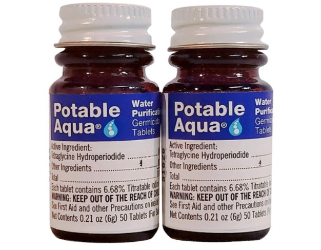Two bottles of potable aqua iodine tablets.