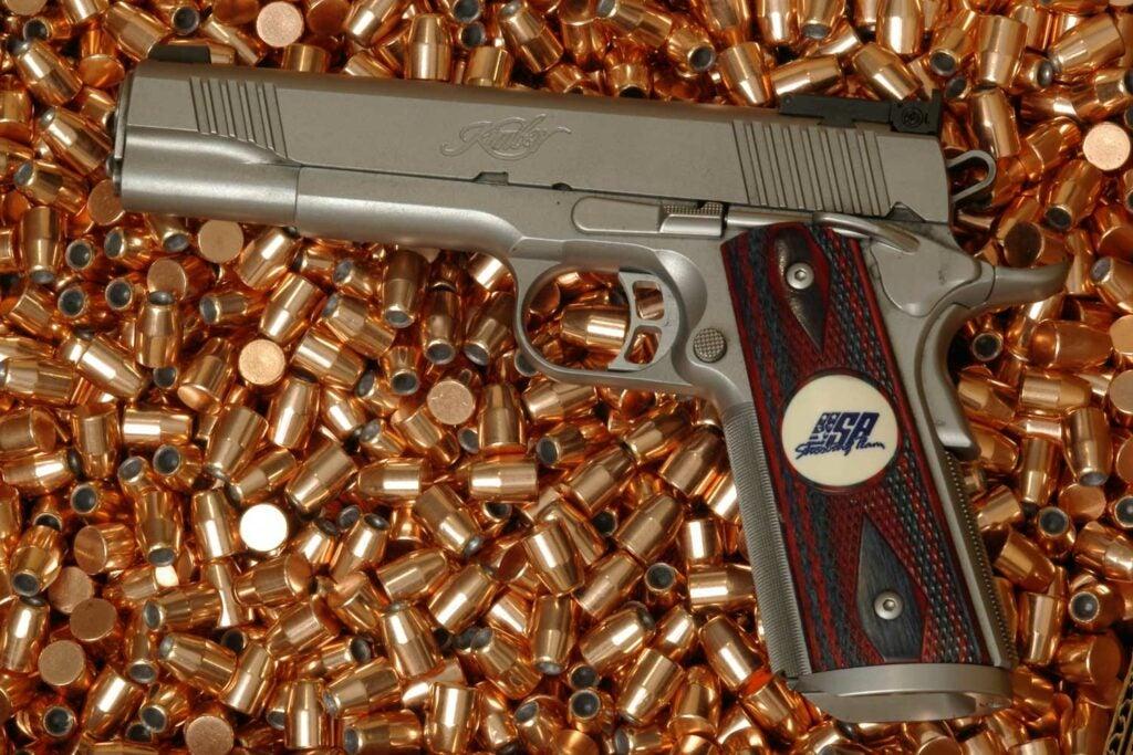 A handgun on an ammo reloading handgun.