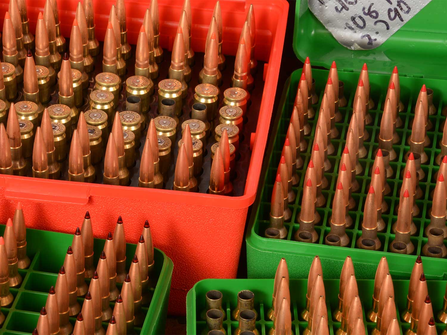 Boxes of reloaded handgun ammo.