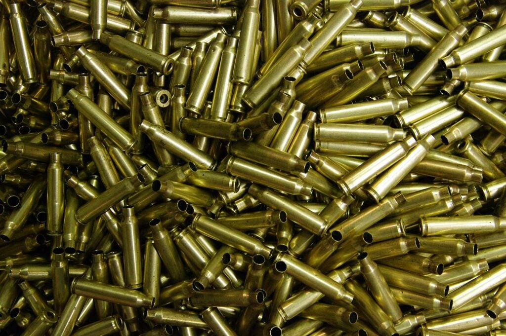 Empy brass cartridges for reloading rifle ammunition.