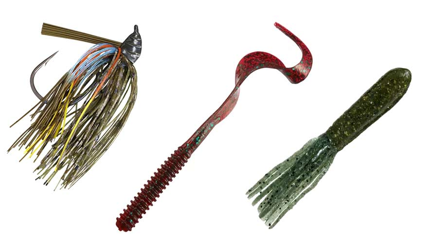 A trio of bass fishing lures.