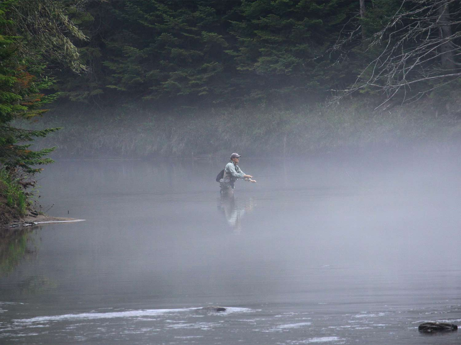 A fly angler wading through a river and fishing in the fog.
