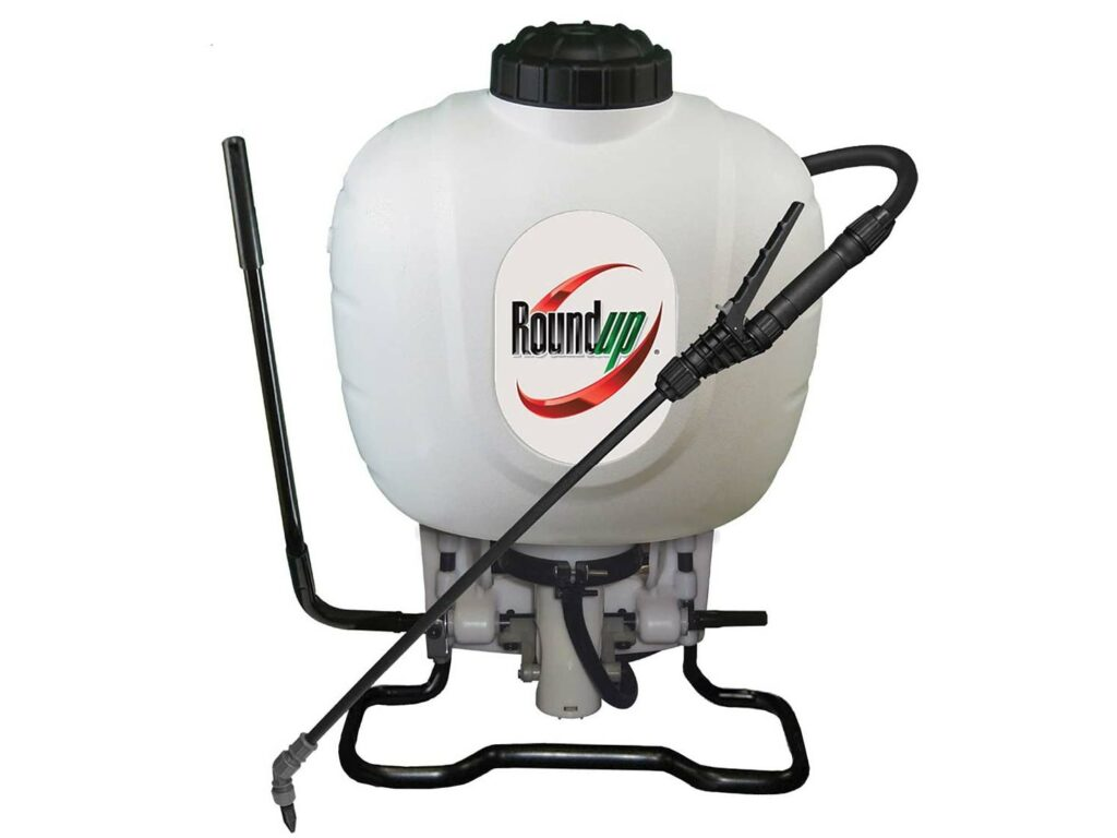 A RoundUp backpack herbicide sprayer.