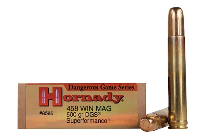 Hornady Dangerous Game Series Superformance in .458 Winchester Magnum on a white background.